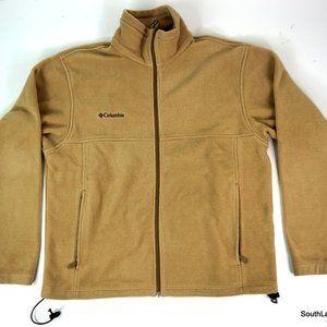 Fleece Columbia Full Zip Jacket Beige Tan Medium